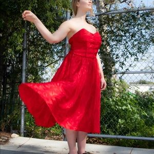 Vintage corset red dress Size M
